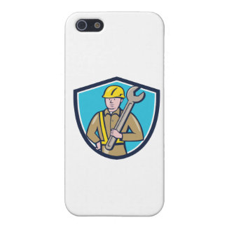 Construction Worker Spanner Shield Cartoon Case For iPhone 5
