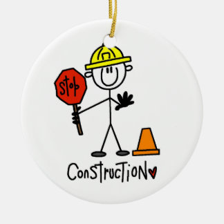 Construction Worker Stick Figure Double-Sided Ceramic Round Christmas Ornament