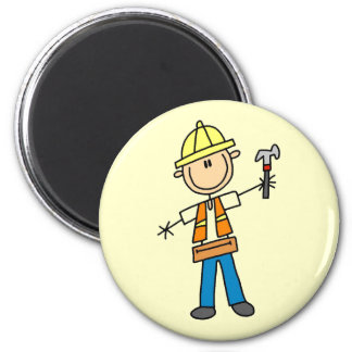 Construction Worker with Hammer 2 Inch Round Magnet