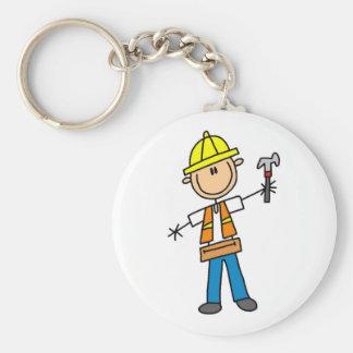 Construction Worker with Hammer Basic Round Button Keychain