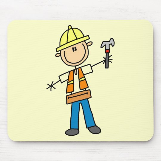 Construction Worker with Hammer Mouse Pad