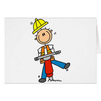 Construction Worker with Jack Hammer Card