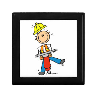 Construction  Worker With Jack Hammer Gifts Trinket Box