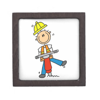 Construction  Worker With Jack Hammer Gifts Keepsake Box