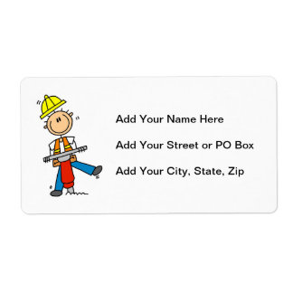 Construction  Worker With Jack Hammer Gifts Label
