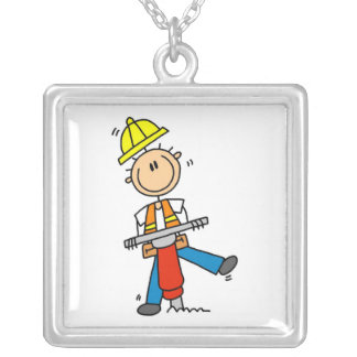 Construction  Worker With Jack Hammer Gifts Silver Plated Necklace