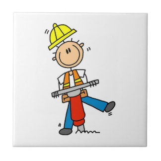 Construction  Worker With Jack Hammer Gifts Tile