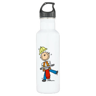 Construction  Worker With Jack Hammer 24oz Water Bottle