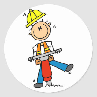 Construction Worker with Jack Hammer Classic Round Sticker