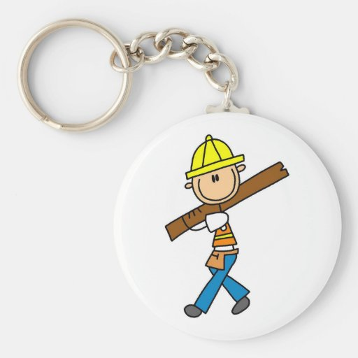 Construction Worker with Lumber Basic Round Button Keychain