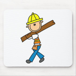 Construction Worker with Lumber Mousepad