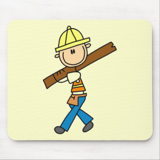 Construction Worker with Lumber Mouse Pad