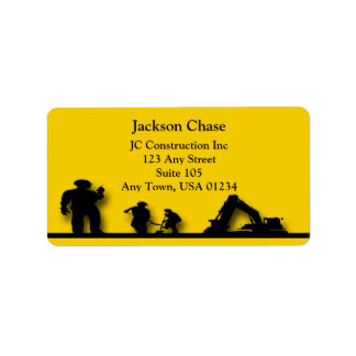 Construction Workers Equipment Address Labels