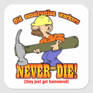 Construction Workers Square Sticker