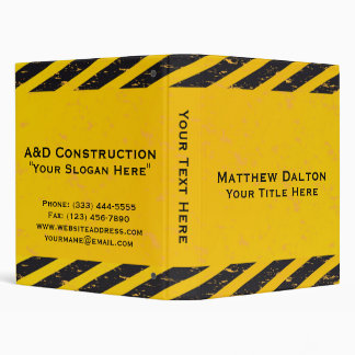 """Construction Yellow and Black Binder 1"""""""