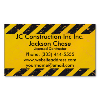 Construction Yellow and Black Business Card Magnet