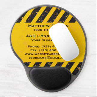 Construction Yellow and Black Gel Mouse Pad