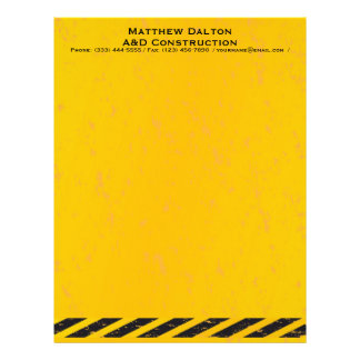 Construction Yellow and Black Letterhead