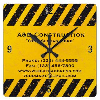 Construction Yellow and Black Wall Clock