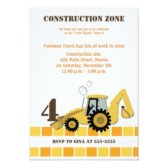 Construction zone backhoe boys birthday invite zazzle construction zone backhoe boys birthday invite filmwisefo