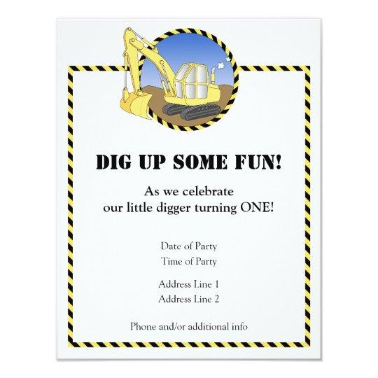 Construction Zone Birthday Party Invitation