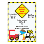 Construction Zone Birthday Personalized Invites