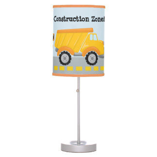 Construction Zone dump truck boys room table lamp