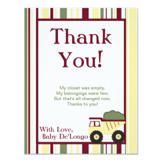 Construction Zone Flat Thank You Card