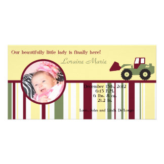 Construction Zone Photo Birth Announcement Photo Card Template