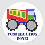 Construction Zone Round Stickers