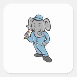 Constructor del elefante que lleva a cabo el pegatina cuadrada