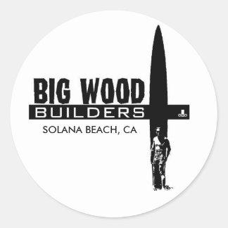 Constructores de madera grandes pegatina redonda