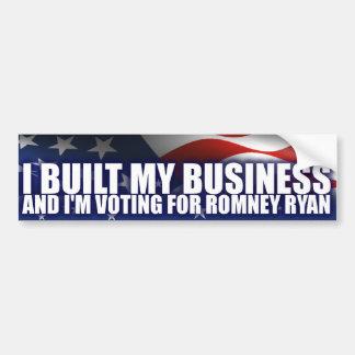 Construí mi negocio - Romney Ryan Etiqueta De Parachoque