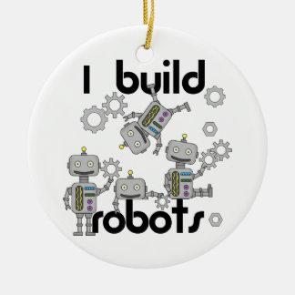 Construyo los robots adorno navideño redondo de cerámica