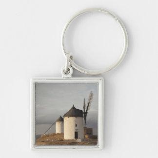 Consuegra, antique La Mancha windmills 3 Silver-Colored Square Keychain
