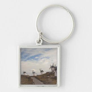 Consuegra, antique La Mancha windmills 4 Silver-Colored Square Keychain