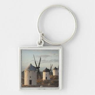 Consuegra, antique La Mancha windmills 5 Silver-Colored Square Keychain