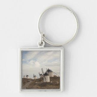 Consuegra, antique La Mancha windmills Silver-Colored Square Keychain