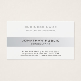 Consultant Elegant Modern Silver Plain Corporate Business Card