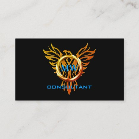 Consultant, Flame Ring and Phoenix, Black Business Card