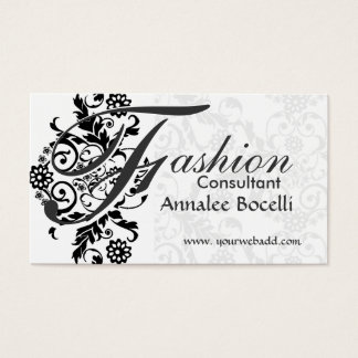 Consultant  Floral Black Lace Adorned Monogram Business Card