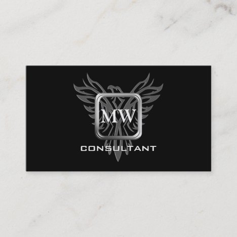 Consultant, Silver Square, Stylized Eagle Business Card