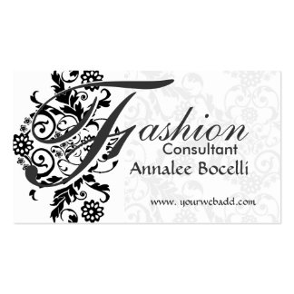 Consultant Sumptuosly Adorned Black Lace Monogram Double-Sided Standard Business Cards (Pack Of 100)
