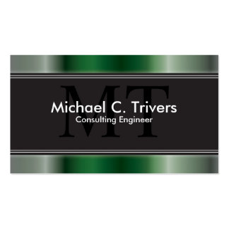 Consulting Engineer Business Card Green Monogram