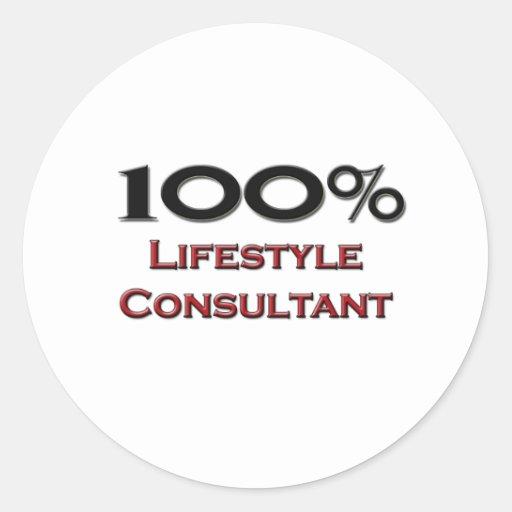 Consultor de la forma de vida del 100 por ciento pegatina redonda