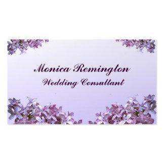 Consultor del boda de la lila tarjetas de visita