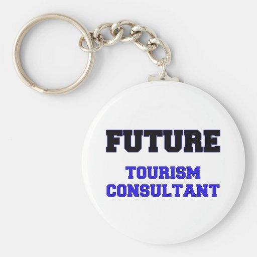 Consultor futuro del turismo llavero redondo tipo pin