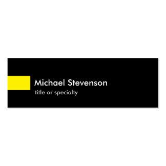 Consultor único delgado amarillo negro tarjetas de visita mini