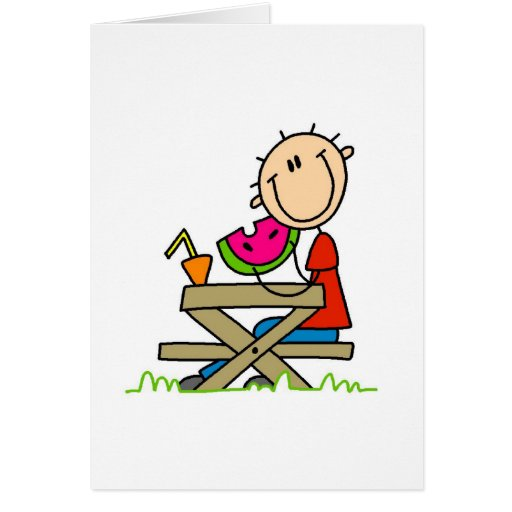 Consumición de la sandía tarjeta