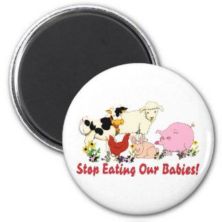 Consumición de los bebés animales imán redondo 5 cm